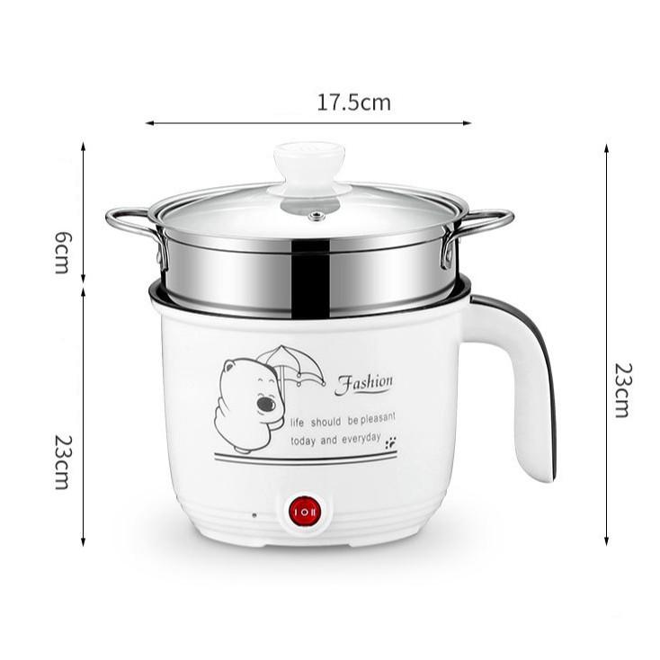 Ca Nấu Mì, Nấu Cơm Đa Năng Có Tay Cầm 1,8L - Nồi Lẩu Điện Mini Kèm Giá Hấp Inox