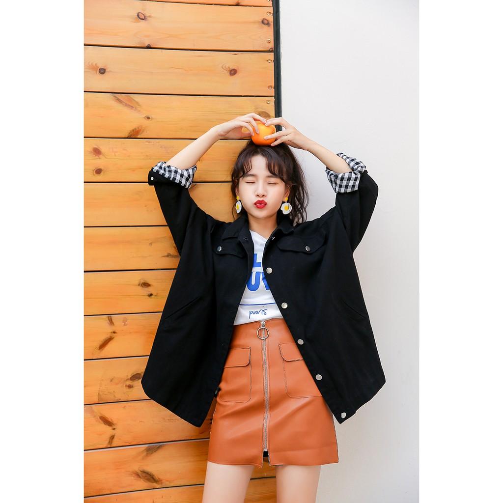 Áo jacket kaki dáng rộng