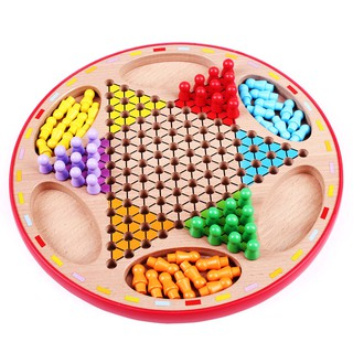 Authentic children's checkers wooden large educational toys jumpers chess flying chess two in one tabletop game haybo06