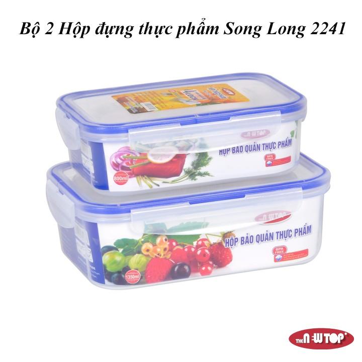 Bộ 2 Hộp Đựng Thực phẩm 4 khóa Song Long 2241 (1350ml + 800ml)