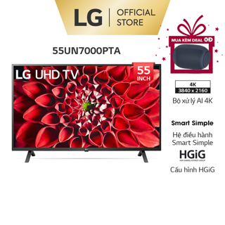 [Mã 158ELSALE hoàn 7% xu đơn 300K] Smart UHD Tivi LG 55 Inch 4K 55UN7000PTA – Model 2020 – Miễn phí lắp đặt