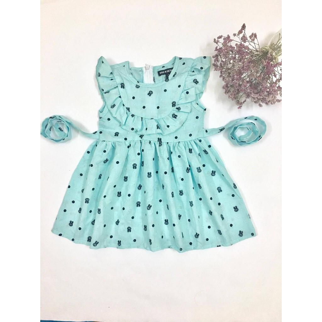 Váy tiểu thư siêu mềm mát cho bé gái sz1-6 (có dây thắt nơ)