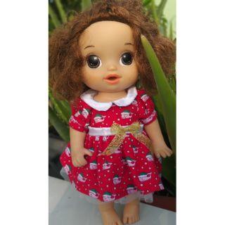 Đầm đỏ xmas cho bé Baby alive cao 27_32cm .