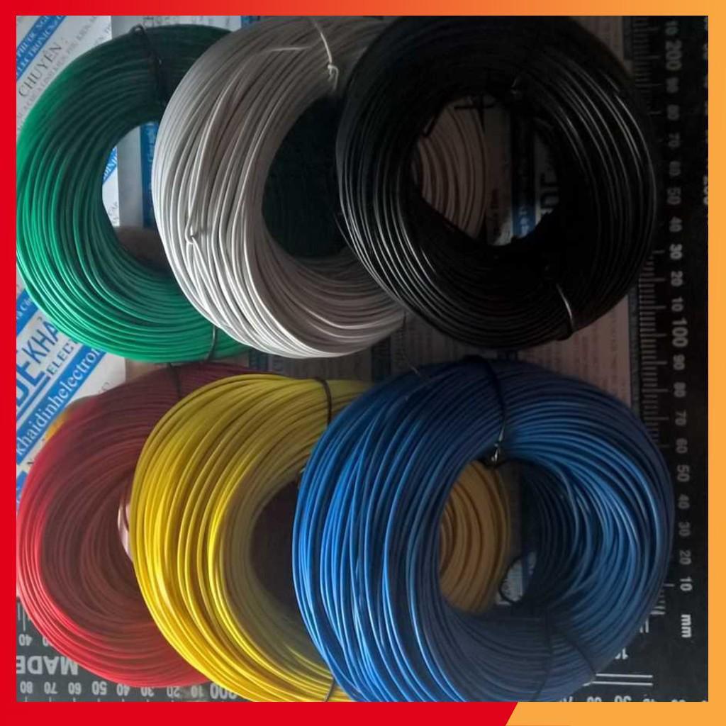 (GIÁ SỈ) dây điện đơn RV 1,0mm (cuộn 10m) có 6 màu đỏ/đen/lục/trắng/dương/vàng kde1691
