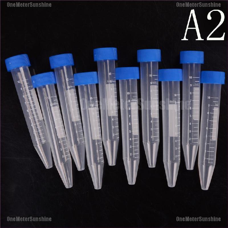 10 Ống thí nghiệm ly tâm kèm nắp tự đứng bằng nhựa 10ml