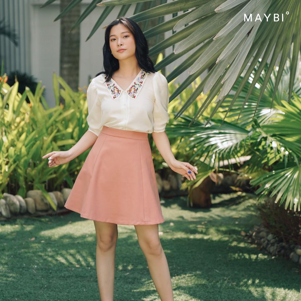 MAYBI - Chân váy hồng A Rib Midi