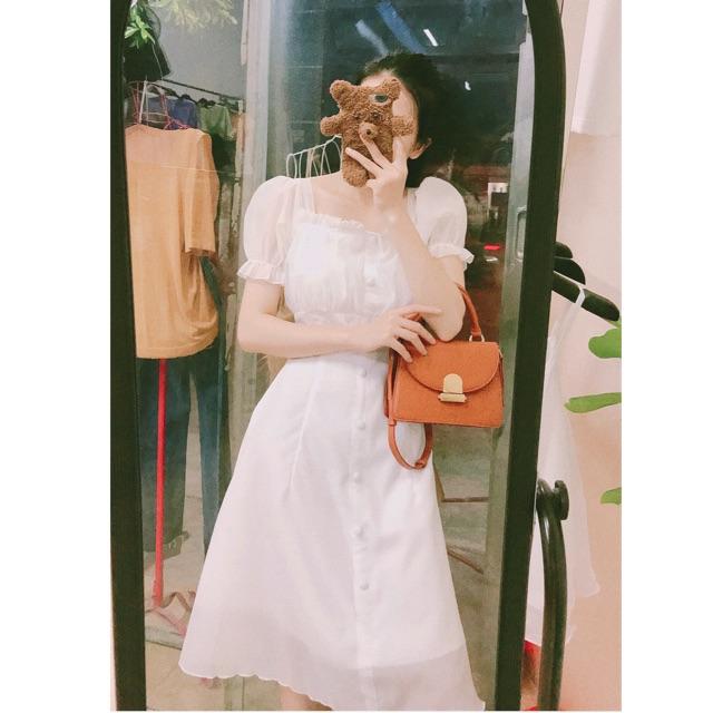 Váy trắng tay bồng