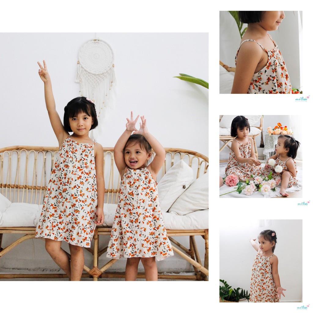 144K - Váy bé gái dây hoa cam dành cho bé 1 tuổi đến 7 tuổi, thời trang bé  gái may thủ công