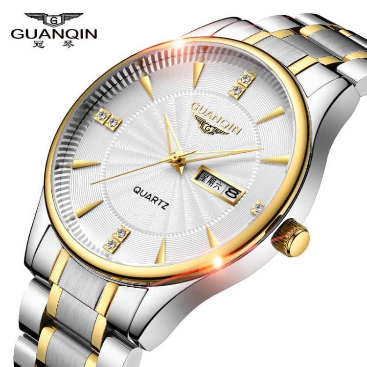 Guanqin นาฬิกาชายกันน้ำส่องสว่างปฏิทินผู้ชายนาฬิกาเหล็กที่เรียบง่ายสบาย ๆ บางเฉียบผู้ชายนาฬิกานาฬิกาควอตซ์