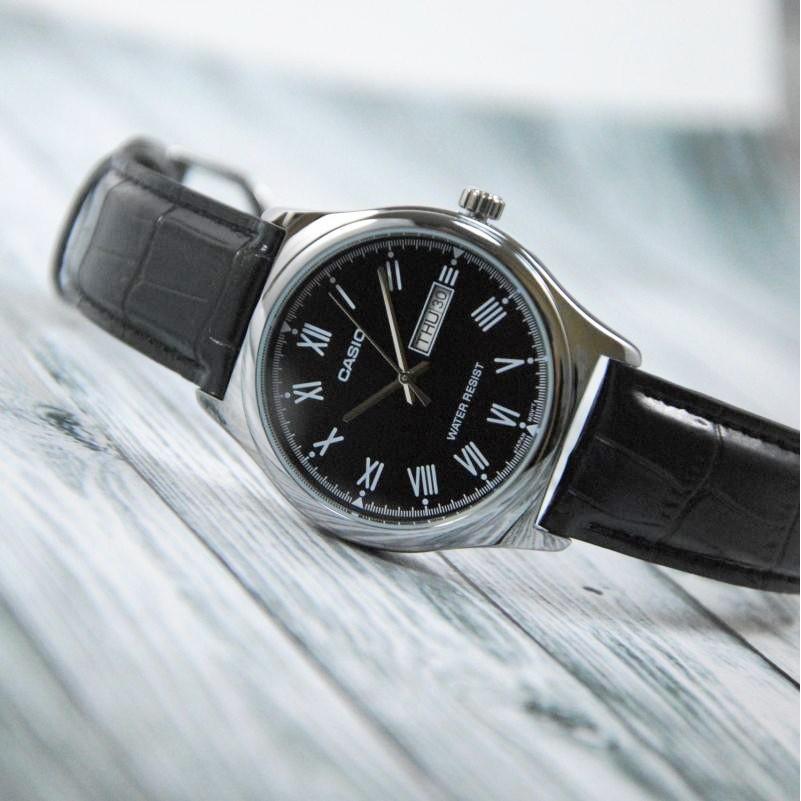 Đồng hồ Nam dây da Casio Standard Anh Khuê MTP-V006L-1BUDF dây đen mặt đen nam tính