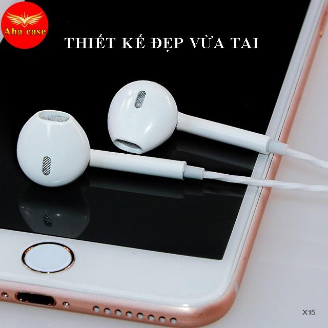 Tai nghe nhét tai X15 - Âm hay, bass ấm, có mic và nút tạm dừng nhạc tiện lợi, tai nghe dây, Aha Case