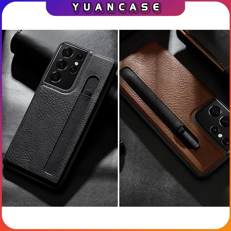 Ốp lưng Nillkin da cho Samsung S21 Ultra Aoge Leather Case , có khe để bút S-Pen - Hàng nhập...