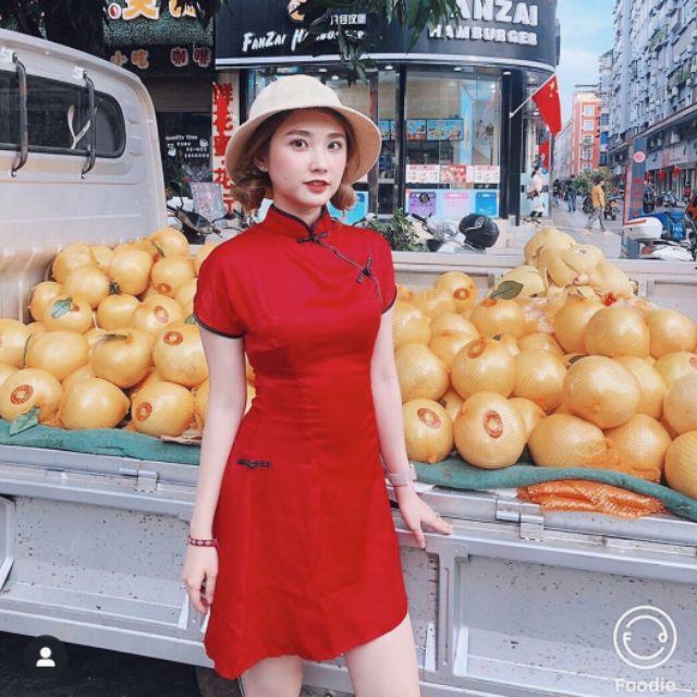 Đầm đỏ sườn xám cách tân Trung Hoa siêu hot mua Tết
