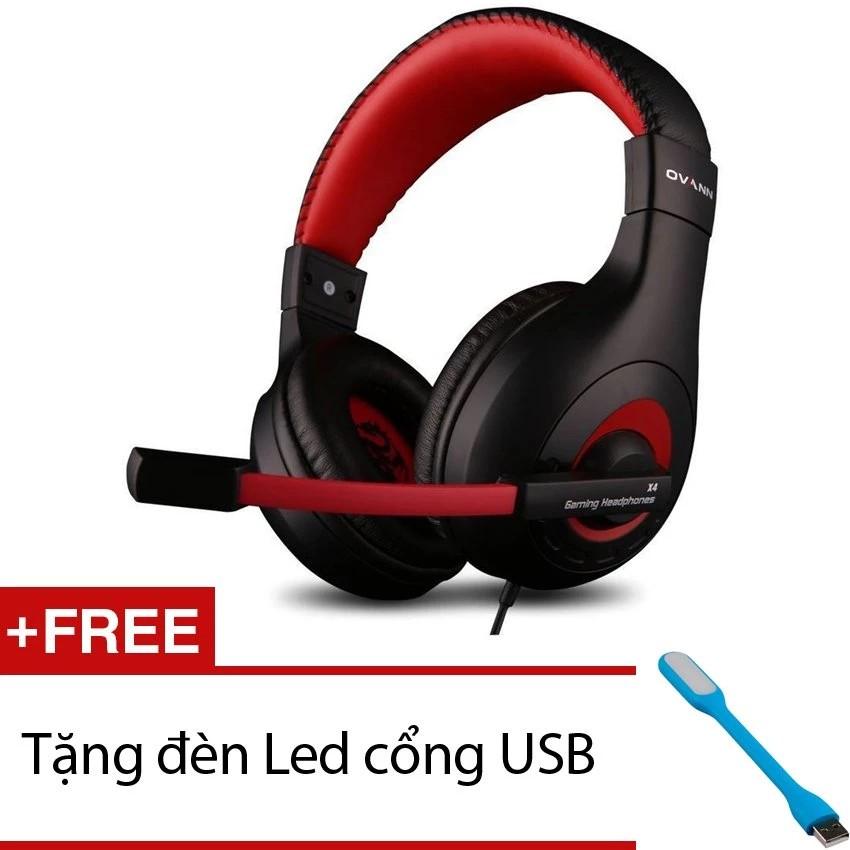 Tai nghe chụp tai OVANN X4 kèm Micro (Đen Phối Đỏ) + Tặng 1 đèn Led cổng USB