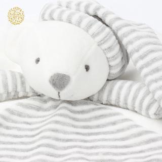 Gray bear soothing towel cute striped round soothing doll baby plush toy YKD