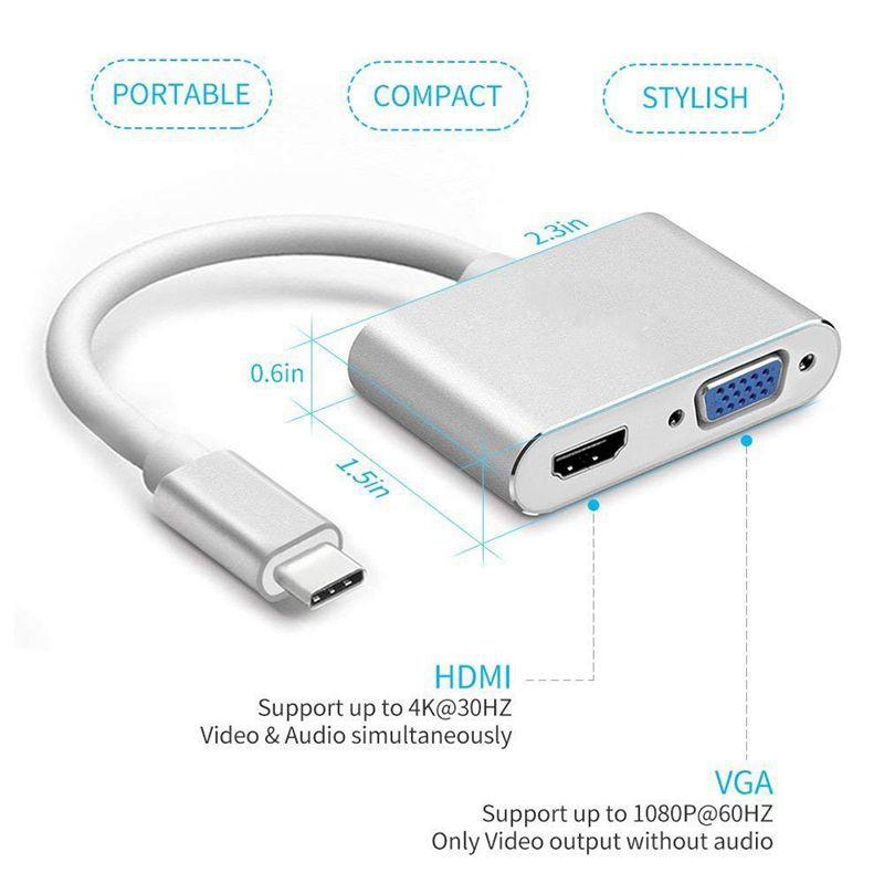 USB C to HDMI + VGA,Adapter, Compatible MacBook Pro/Chromebook White