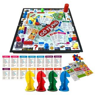 Board Game Cờ Tỷ Phú Monopoly Phiên Bản Việt Nam Cải Tiến Kèm Ngựa Gỗ Sắc Màu,Đồ Chơi Giải Trí