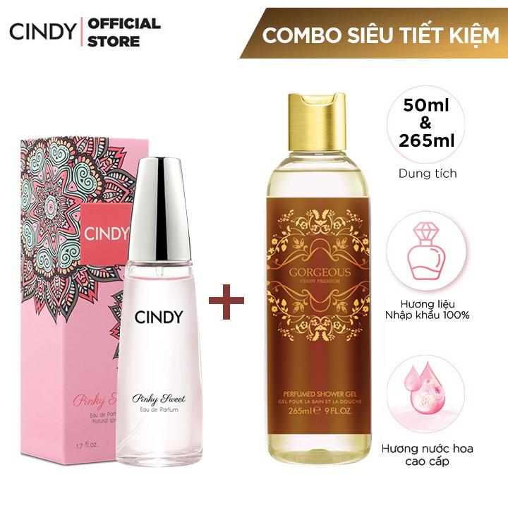 Combo Nước Hoa Cindy Pinky Sweet 50ml + Sữa tắm Cindy Premium 265ml