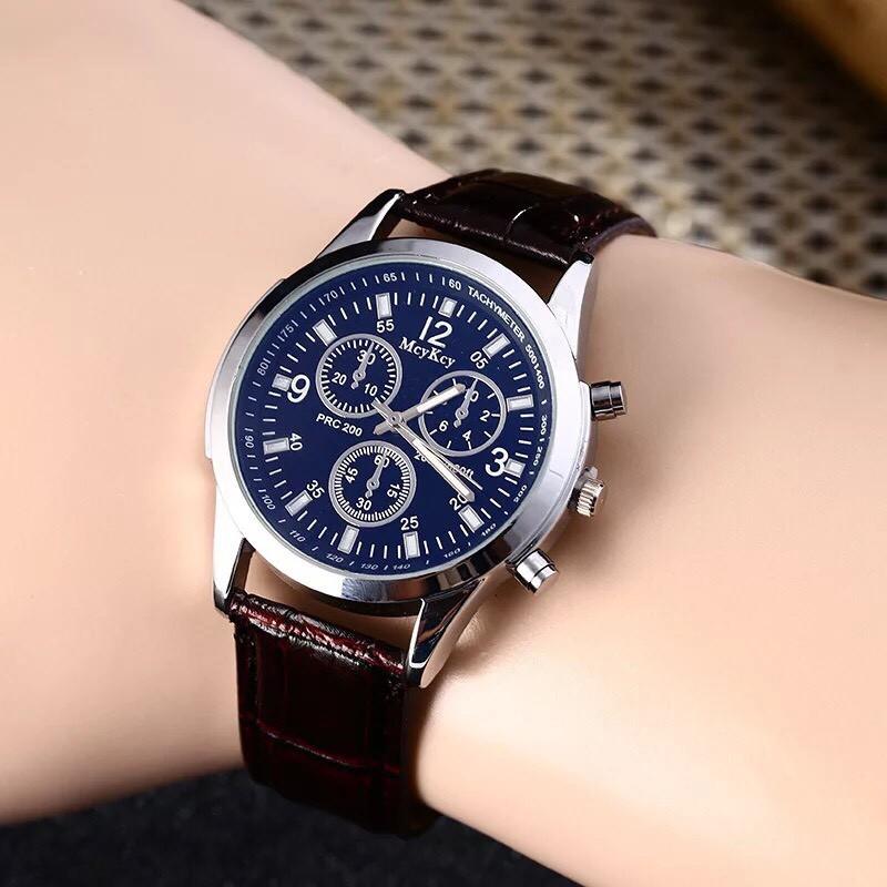 Đồng hồ thời trang nam McyKey giả 6 kim dây da thiết kế ấn tượng St789