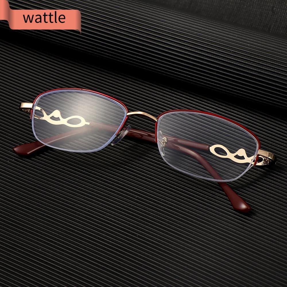 WATTLE Luxury Presbyopic Eyeglasses Women Fashion Metal Frame Eyewear Anti Blue Light Reading Glasses Anti-UV Transparent Anti-fatigue Radiation Protection Computer...