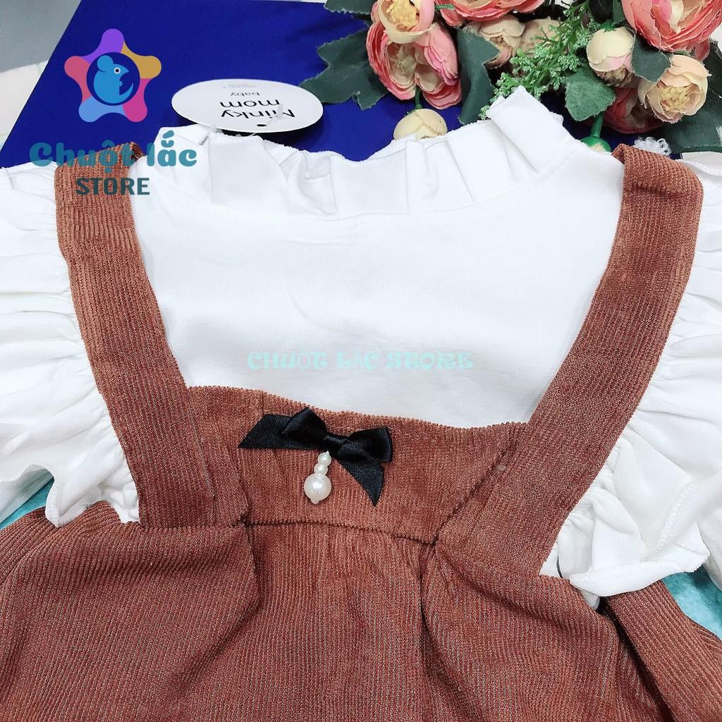 Đầm váy bé gái dài tay kiểu yếm nhung gân 2 dây liền cho bé từ 8kg đến 18kg