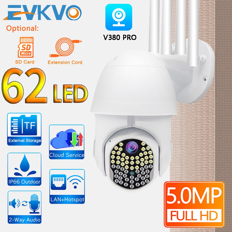 EVKVO - 63 LEDS FULL COLOR Night Vision - Auto Tracking - V380 / V380 PRO APP Rotate Outdoor Waterproof FHD 5MP Wireless WIFI PTZ IP Camera CCTV Light & Sound Motion Detection Alarm Two Way Audio Home Security Surveillance CCTV Camera