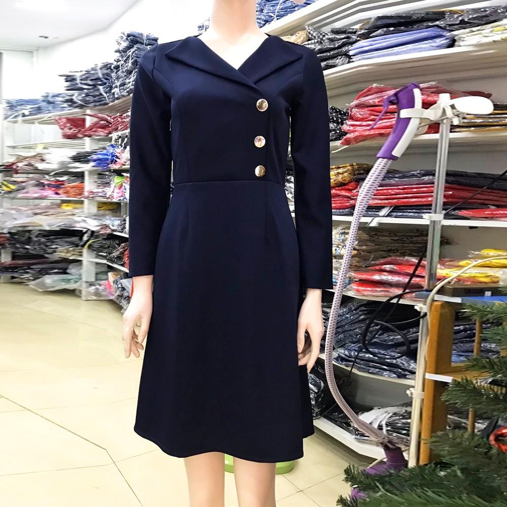 Đầm Công Sở Tay Dài Màu Xanh