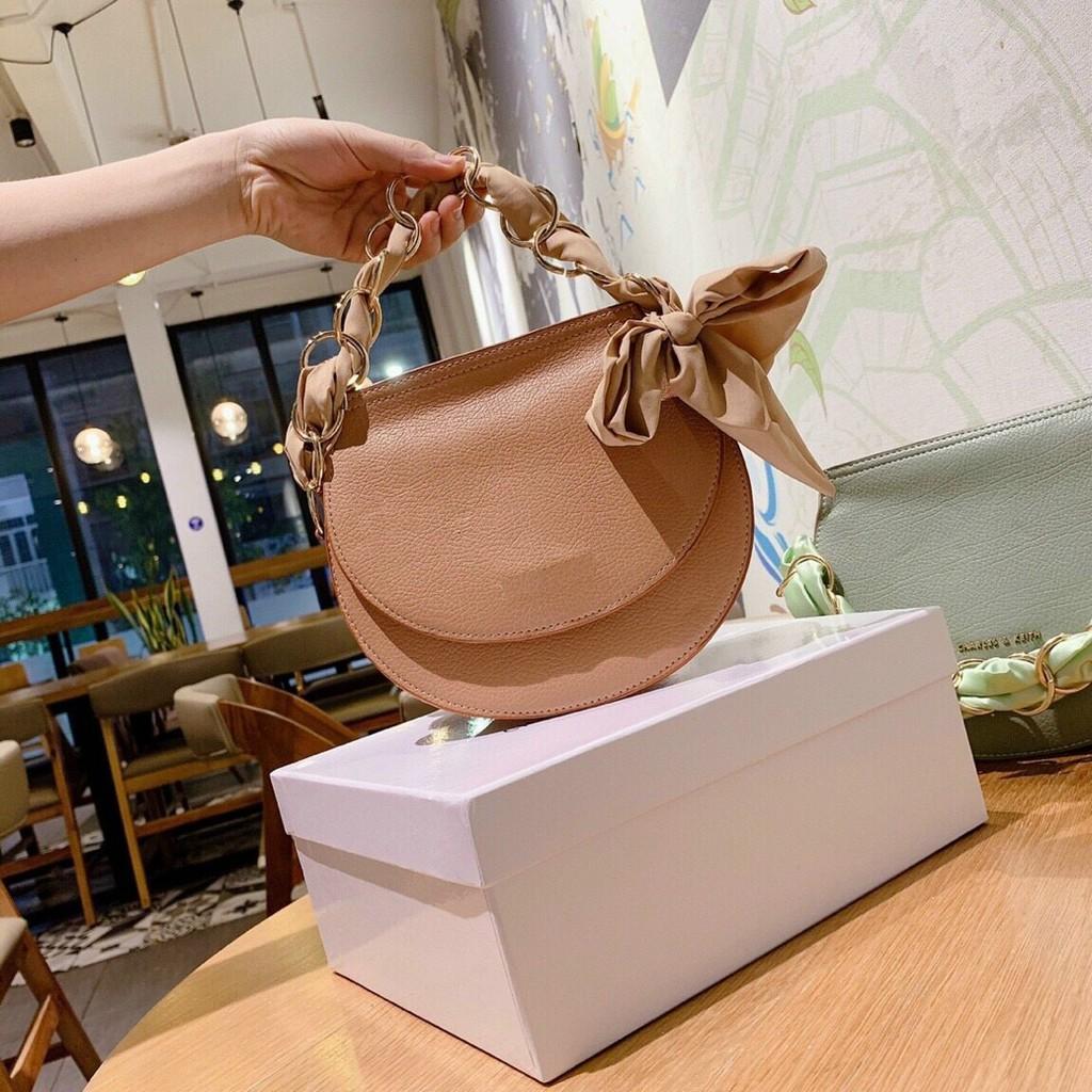 Túi tròn kèm khăn túi tròn bán nguyệt thời trang hàng đẹp mẫu mới nhất TRONKHAN