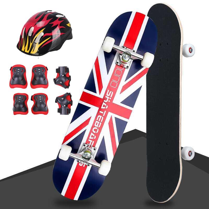 Combo Ván Trượt Cỡ Lớn Skateboard Mặt Nhám 80cm + Tặng Kèm Bộ Bảo Hộ (Mũ -Bảo Vệ Tay Chân) thumbnail