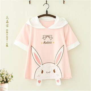 áo thun ngắn tay hình tai thỏ xinh xắn cho nữ