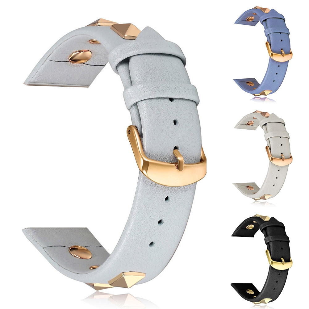 Two-piece Genuine Leather Clasp Watch Band With Rivet Wrist Accessories For IWatch 4/3/2/1
