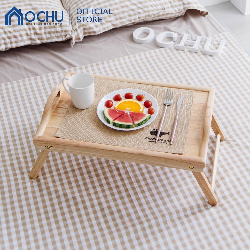 Bàn Ăn Gấp Gọn Mini Gỗ Cao Su Nội Thất OCHU Tiện Lợi Di Chuyển - Bed Tray - Natural