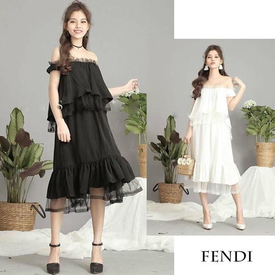 Đầm maxi trễ vai Fendi dress cực hót kèm ảnh thật