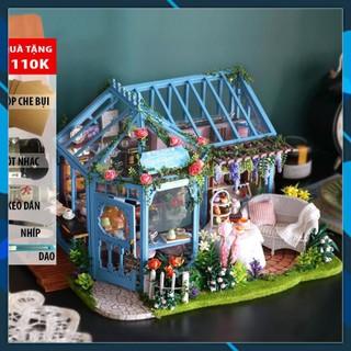 Mô hình nhà búp bê gỗ DIY Mô hình nhà búp bê lắp ghép DIY Garden Tea House Toy World thumbnail