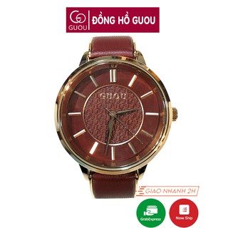 Đồng hồ nữ đeo tay dây da Guou viền mạ vàng chính hãng chống nước tuyệt đối 8195 thumbnail