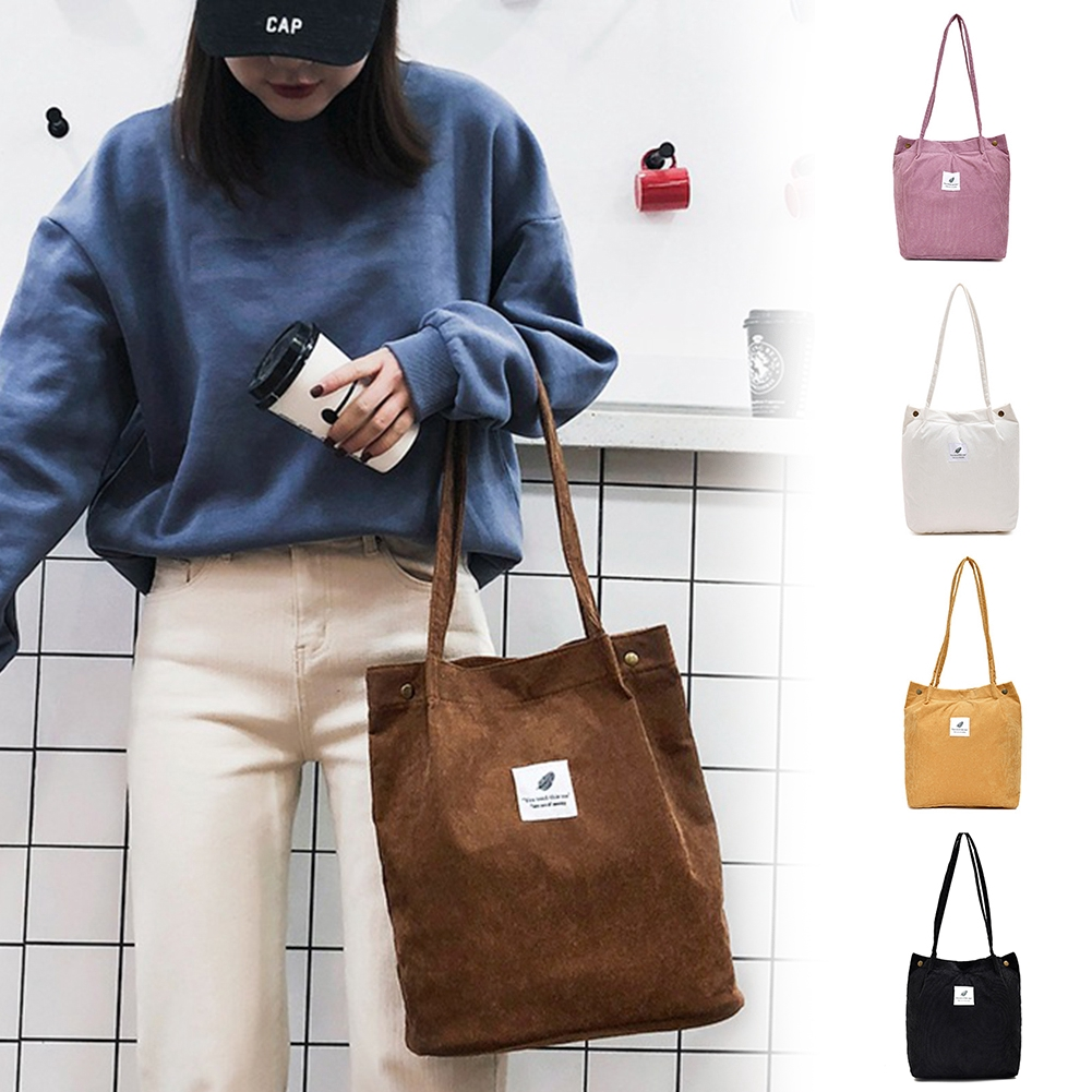 Corduroy Ladies Foldable Casual Tote Shoulder Bag