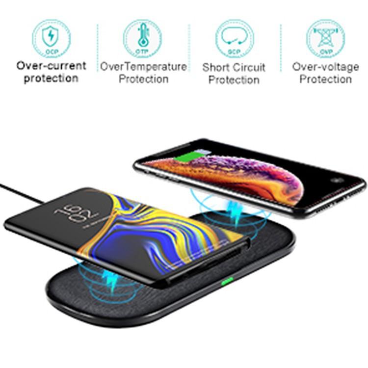 Pad Sạc Không Dây CHOETECH Qi Kép Nhanh Cho Samsung Galaxy S20 S20 +