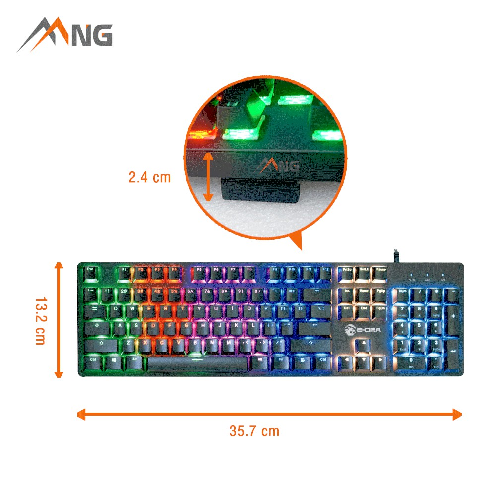 [Mã ELCLJUL giảm 7% đơn 500K] Bàn phím Gaming E-DRA EK311 Cơ Đèn Led 104 phím Có Dây Bảo hành 24 tháng