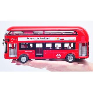 (Trợ giá vận chuyển) Xe ô tô buýt sắt 2 tầng bằng sắt nguyên chiếc phát nhạc có đèn (kèm pin)