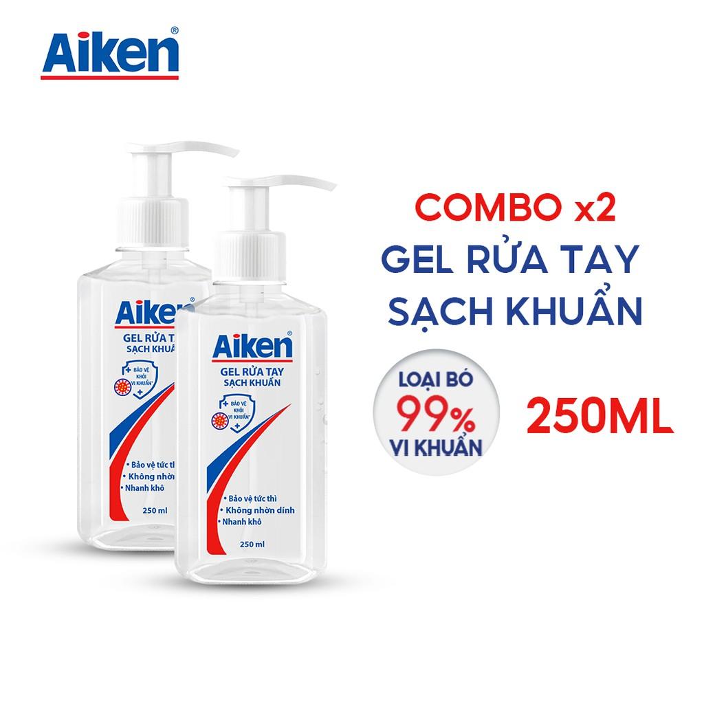 Combo 2 Gel rửa tay Sạch khuẩn Aiken 250ml / chai Dạng vòi