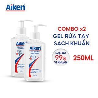 Aiken Combo 2 Gel rửa tay Sạch khuẩn 250ml/chai Dạng vòi