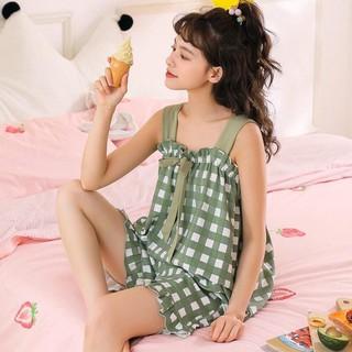 Bộ ngủ Hedylan2 – Bộ đồ bầu 2 dây KẺ PHỐI NƠ mùa hè quần có chun chỉnh mặc nhà thoải mái BĐ833