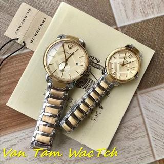 Đồng hồ đôi nam nữ burberry bu10018 40mm, bu10004 32mm máy thụy sĩ quartz, mẫu mặt tròn màu vàng, dây thép không gỉ thumbnail