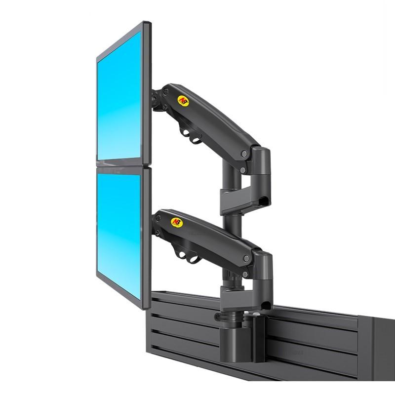 Bảng giá Treo màn 2 hình máy tính trên dưới M80 22-32inch, 2 màn hình 32 inch, tải trọng 12kg mỗi cánh tay, phù hợp nhà xưởng sx Phong Vũ