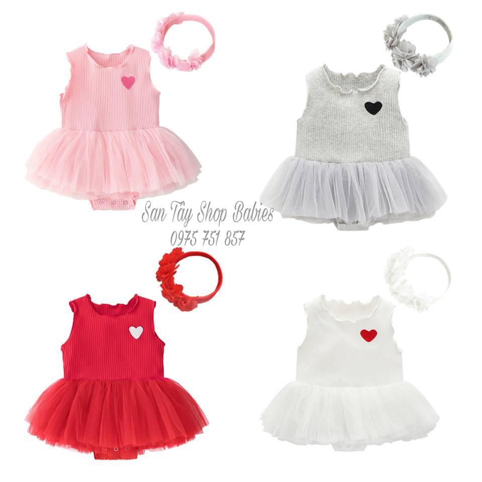 Váy kèm nơ cho bé từ 0 - 12 tháng (sẵn 4