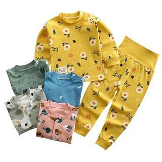 Bộ cotton dày dài tay cạp cao họa tiết cao cấp dành cho bé trai và gái