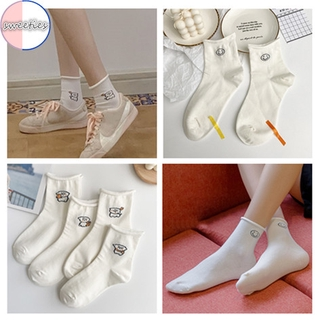 [sweet] woman Japanese style cartoon cute smile dog pattern cotton socks breathable ankle socks