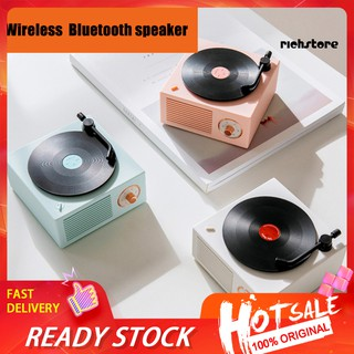 【Ready stock】 Mini Retro Vinyl Record Wireless Bluetooth Speaker Knob Control AUX Music Player