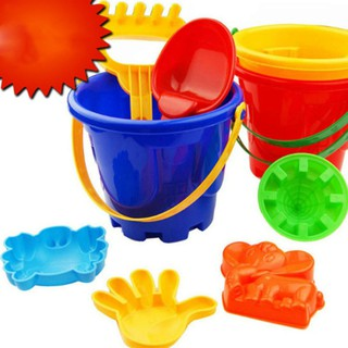 6PCS Kids' Colorful Beach Toy Set with 1 Pail, 1 Rake, 1 Dipper and 3 Moulds in