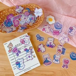 Sticker Mini Gói 40 Cái Dán Sổ Trang Trí Hình Gấu Đáng Yêu Theme Hồng Tím thumbnail